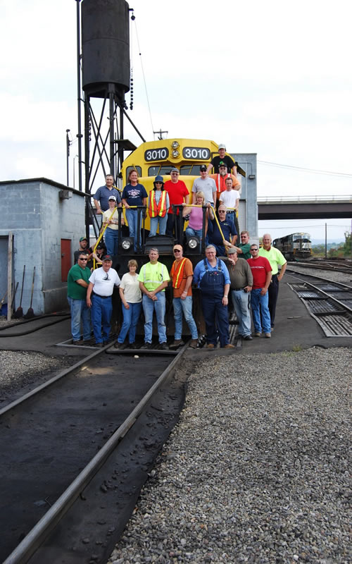 Group shot on locomotive